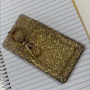 Kate Spade Badge Holder Gold Glitter